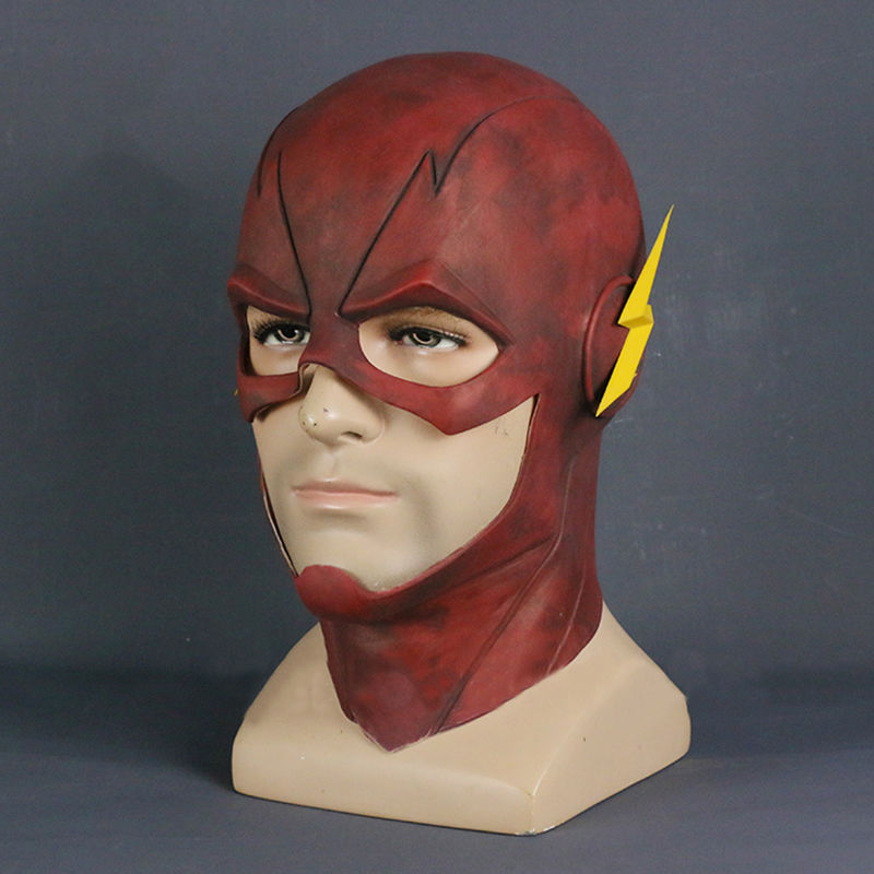 Anime Movie The Flash Barry Allen Cosplay Props Latex Mask Red Yellow Full Head Mask Helmet Kids Adults Cosplay Accessories
