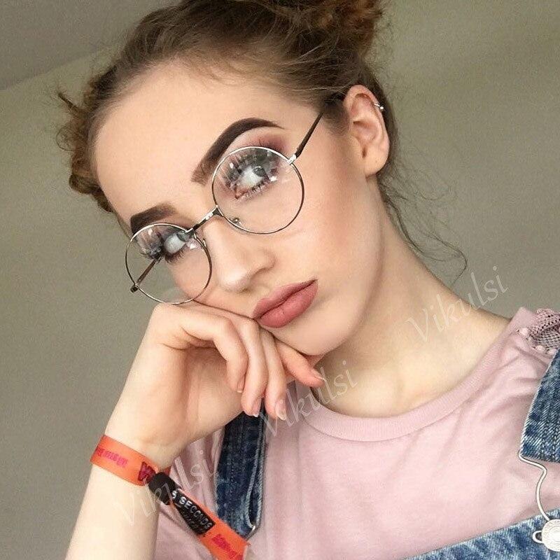 vintage glasses frame brand designer men women round clear glasses metal optics classic eyeglasses frames clear