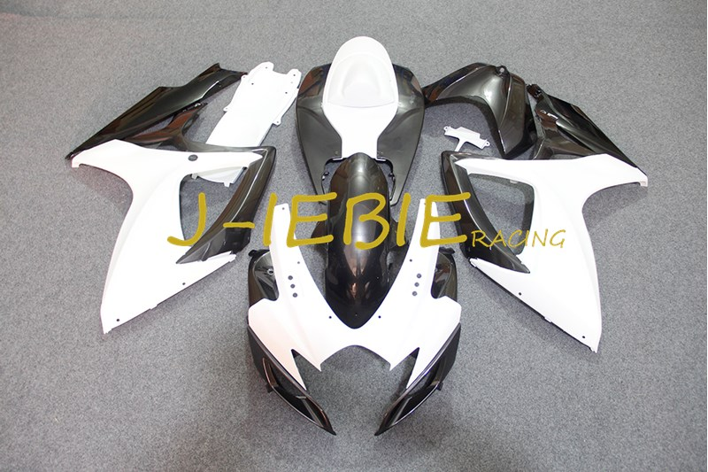 White Black Injection Fairing Body Work Frame Kit for SUZUKI GSXR 600/750 GSXR600 GSXR750 2006 2007
