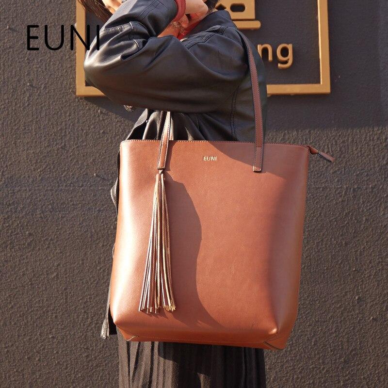 EUNI Luxury Brand Famous Cowhide Leather Woman Handbag Tassel Designer Brand Shoulder Bag Ladies HandBags For Shopping Z56 luxury genuine leather bag fashion brand designer women handbag cowhide leather shoulder composite bag casual totes