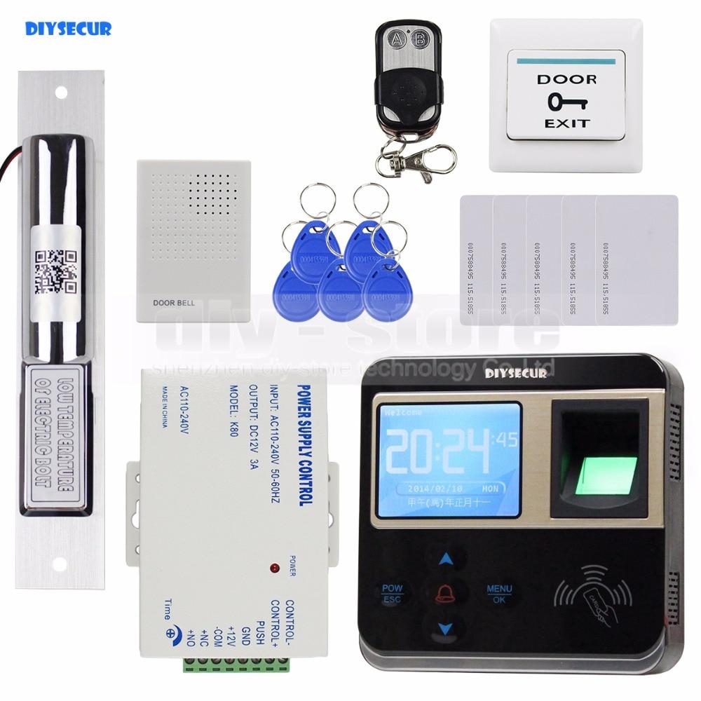 DIYSECUR Fingerprint 125KHz ID Card Reader Electric Drop Bolt Lock Door Access Control System Kit + Door Bell + Remote Control