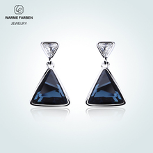 Warme Farben Lady Drop Earrings Crystal From Swarovski Cowboy blue Geometric Zircon Jewelry Earrings 925 Silver Gifts for Women