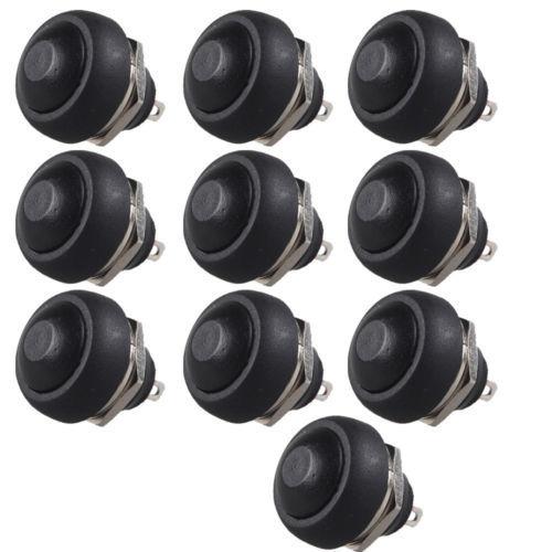 10Pcs Black Mini Round Switch 12mm Waterproof Momentary Push button Switch Sales