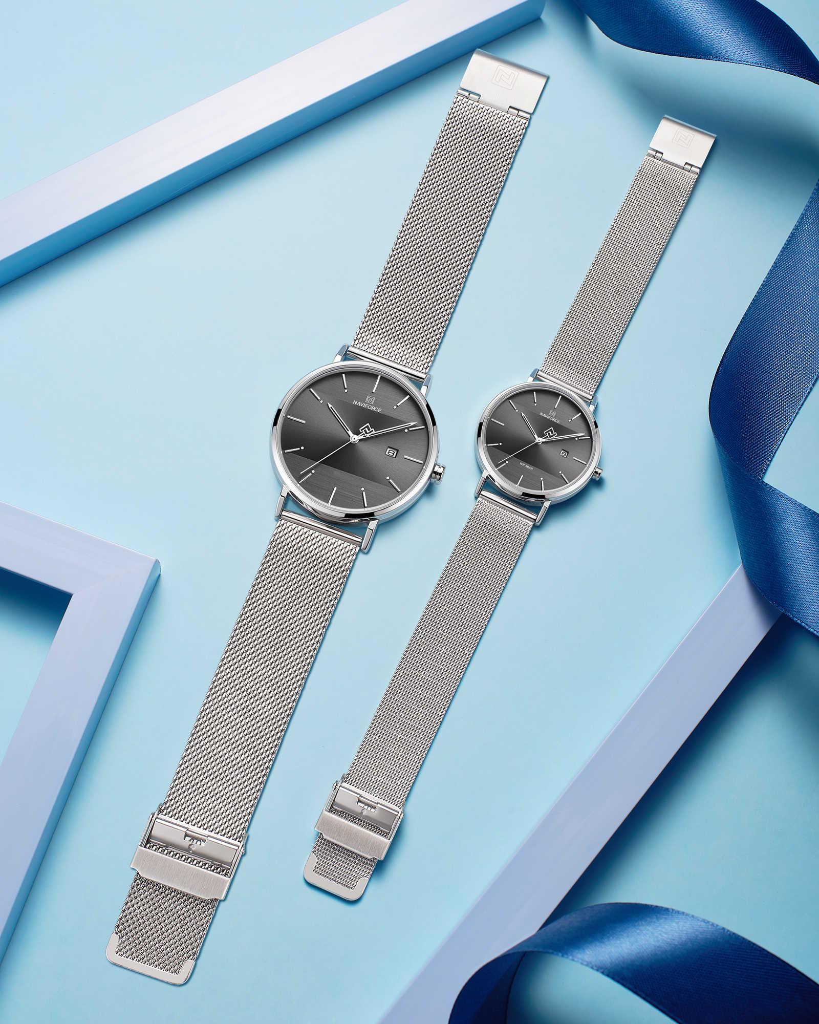 Amant montre NAVIFORCE Top marque de luxe en acier inoxydable montre étanche pour hommes et femmes mode décontracté montre-bracelet ensemble à vendre