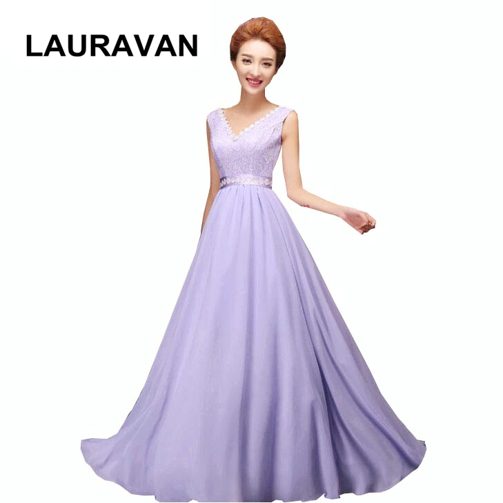 V neck lavender ladies chiffon long lilac a line   bridesmaid   robes woman   dress   bandage party elegant 6 style   bridesmaids     dresses