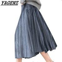 Large 2018 Women S Pleated Skirt Spring Summer Elegant Temperament Stretch Waistline Loose Ladies Big Swing