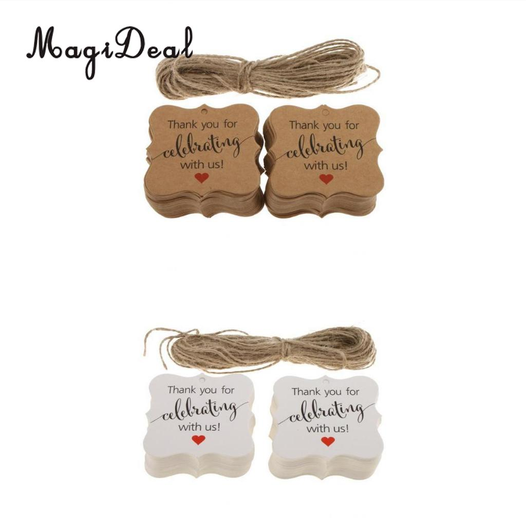 MagiDeal Delicate 100Pcs Thank You DIY Craft for Celebrating With us Gift Tags Hanging Labels for Engagement Baby Shower Decor