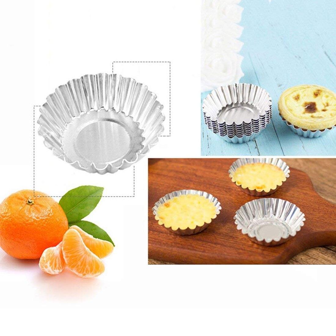 10pcs/lot Egg Tart Mold Cake Aluminium Alloy Mould Baking Tool Cupcake Fruit 70mm Diameter