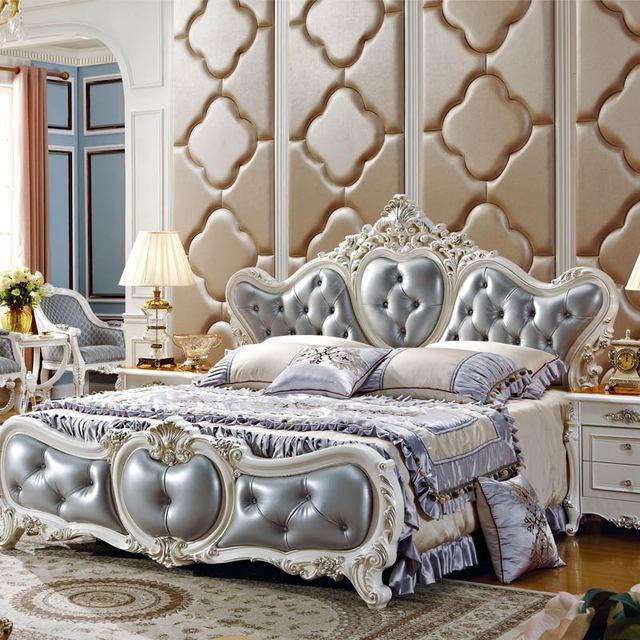 High Quality Grey Leather Master Bed Room Furniture Bedroom Set