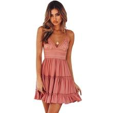 Ruiyige Sexy Deep V Backless Solid Summer Dress Lace Patchwork Casual Spaghetti Strap Women Dresses Mini Elegant Beach Vestidos