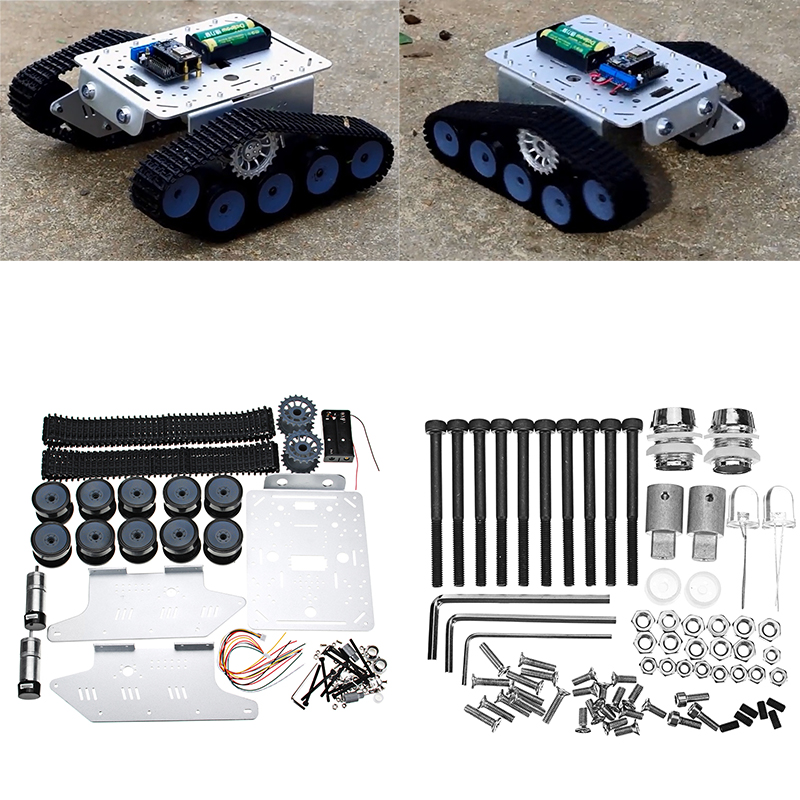 DIY Remote Control Tank Track Chassis Smart Robot Car Kit gzlozone diy kit njw1194 remote volume conrol kit treble