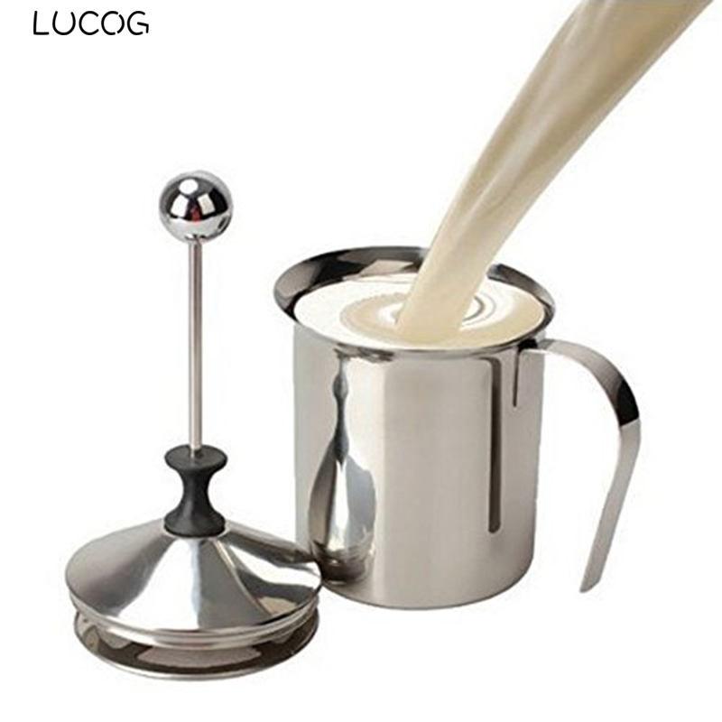 LUCOG Stainless Steel Milk Frother Double Mesh Milk Foam Creamer Egg Tools Kitchen Mixer Accessories Cup For Coffee Latte