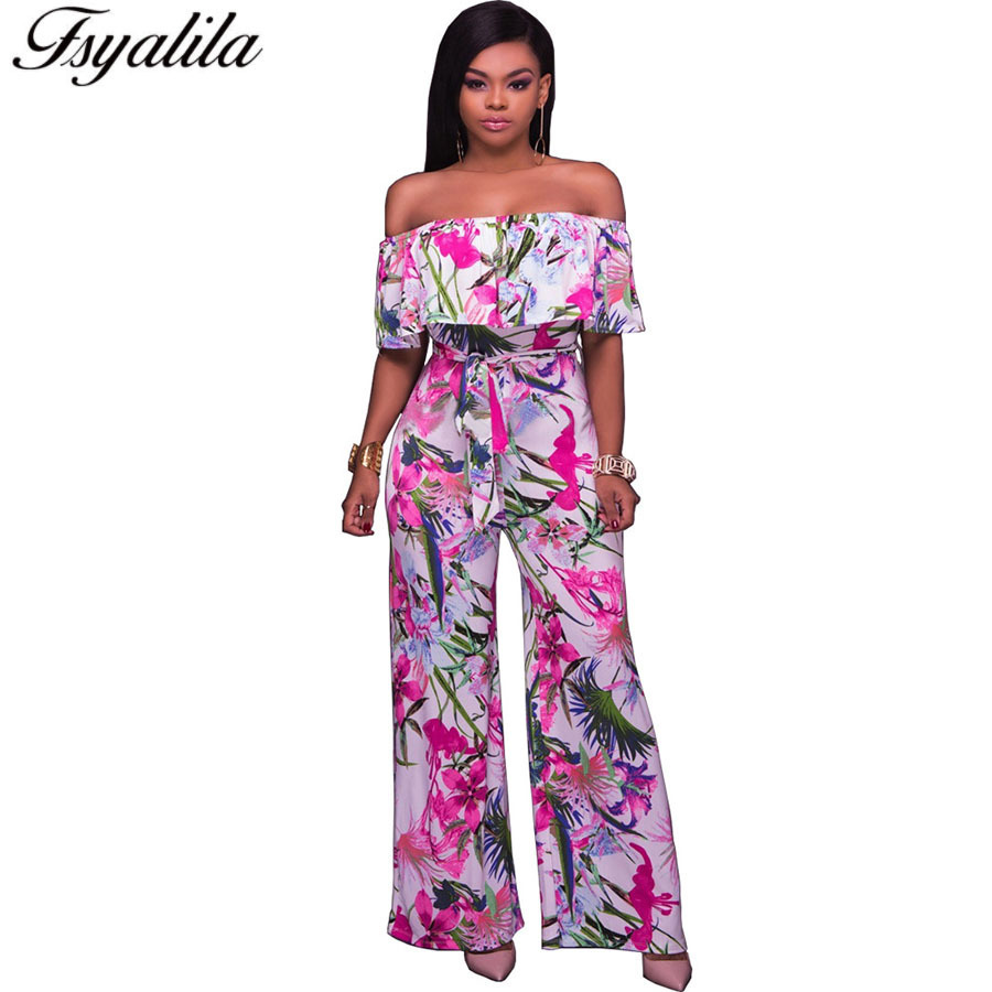 Wide Leg Floral Jumpsuit Off Shoulder Overall Maxi Romper Summer Women Long Pant Jumpsuit Sexy Casual Ruffle Ladies Loose Romper