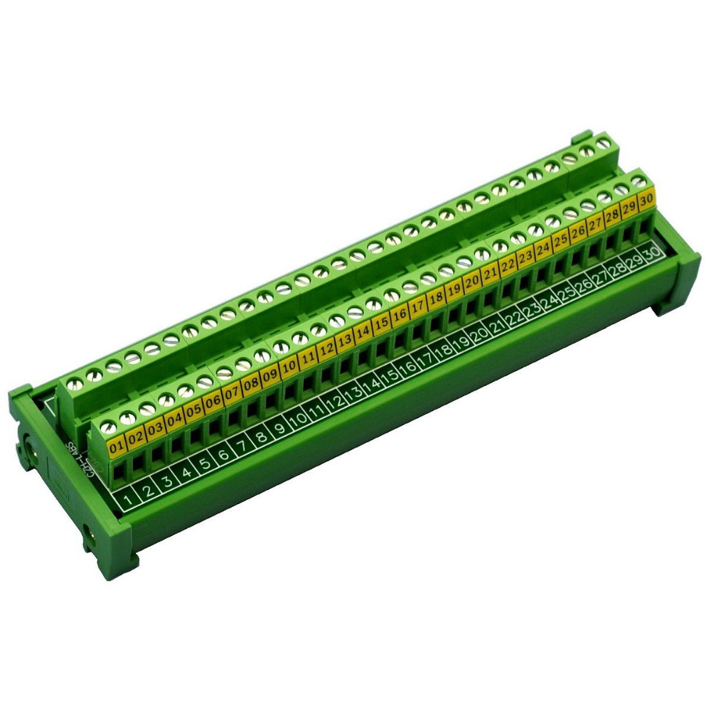 Electronics-Salon DIN Rail Mount 30 Position 24A/400V Screw Terminal Block Distribution Module. adda ad7512hb 7530 dc12v 0 24a
