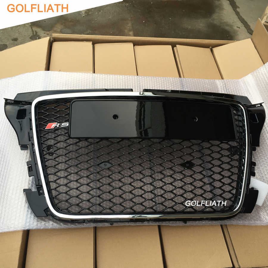 GOLFLIATH RS3 Style Front Bumper mesh Grill center Grille for Audi A3 S3 RS3 2009~2012 golfliath sq5 style black painted chrome frame honeycomb mesh front grille for audi q5 2009 2012