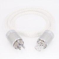 HI End 8AG Gümüş Kaplama OCC Güç Kablosu 16 Ipliklerini ABD AC Güç Kablosu HiFi Akustik