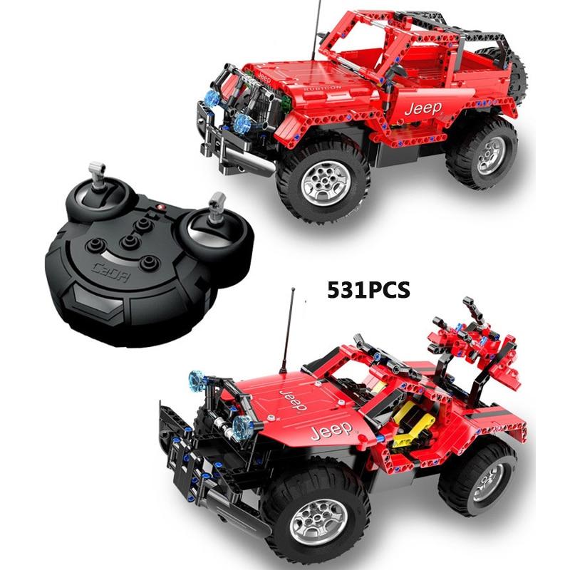 купить Technics remote radio control Chrysler jeep Wrangler Off-road vehicle building block 2in1 suv bricks assemblage model rc toys по цене 6372.73 рублей