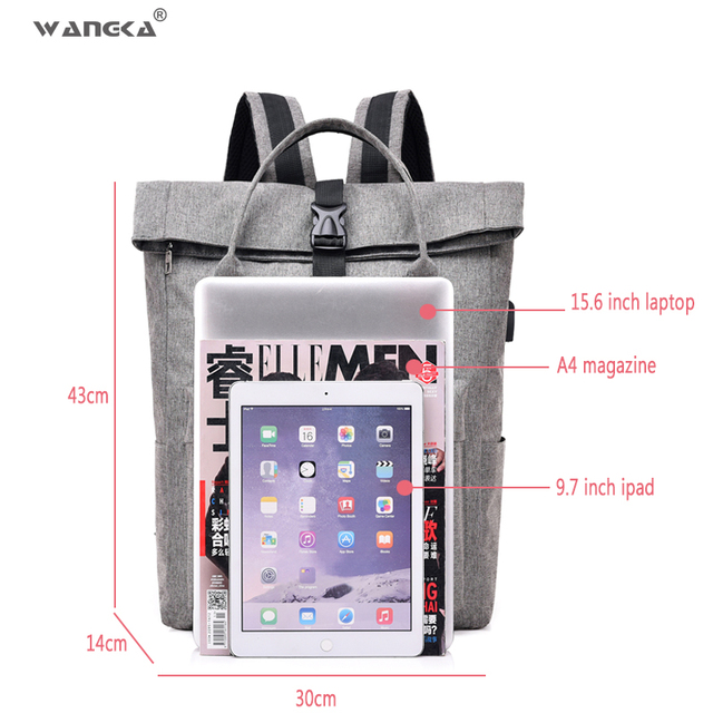 WANGKA Women Men Casual Canvas Backpack with USB Charging 3