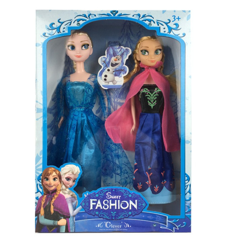 29cm 2019 Elsa And Anna Doll Figures Princess Anna And Elsa Snow Queen Dolls Boneca Toys For Girl Boys With Original Box
