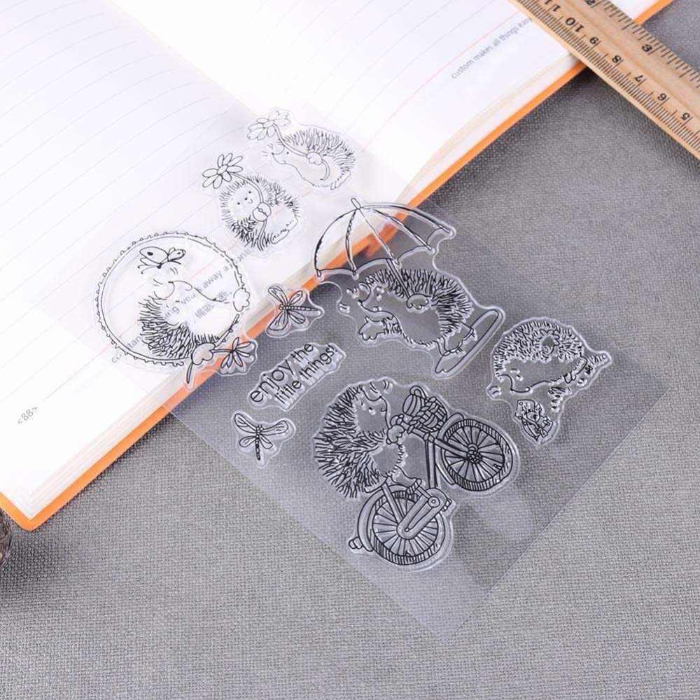 Silikon przezroczysty jeż księga gości pieczęć pieczęć DIY tłoczone Die na ręcznie robione kartki zabawa zagraj w książki dekoracje z wzorami zwierząt