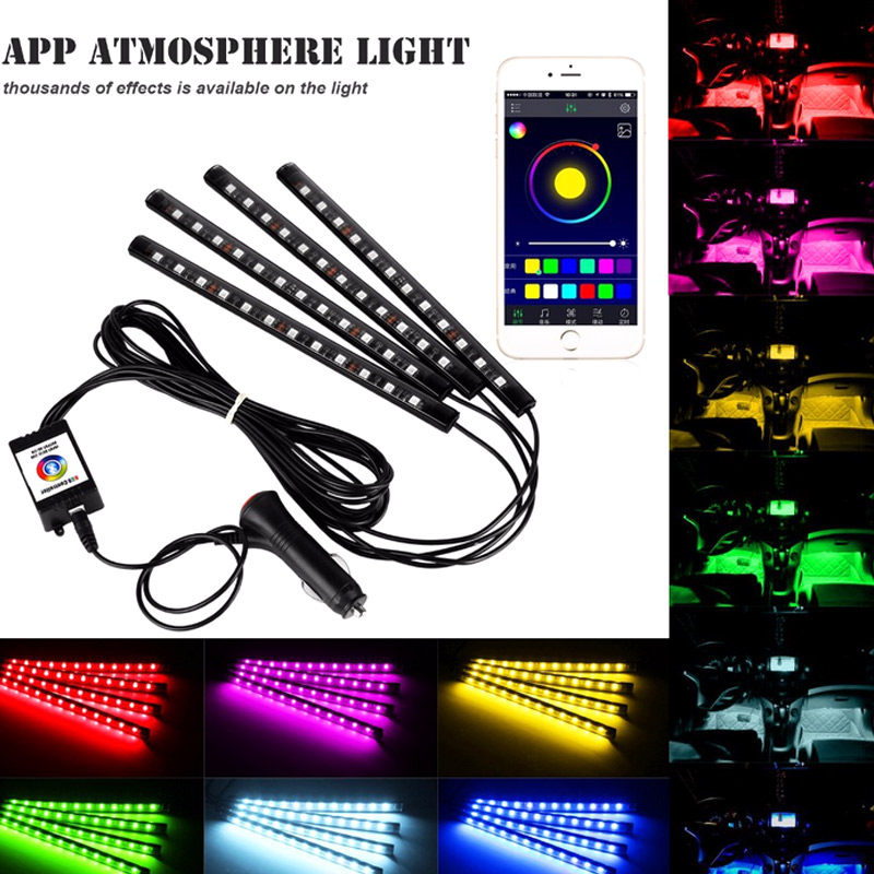 4Pcs Car Atmosphere Lamp App Remote Control RGB  LED Strip Lights Fashion Auto Interior Decoration Music Rhythm Light DX зажигалка zippo since 1932 brushed chrome латунь с никеле хром покрыт серебр матов 36х56х12 мм