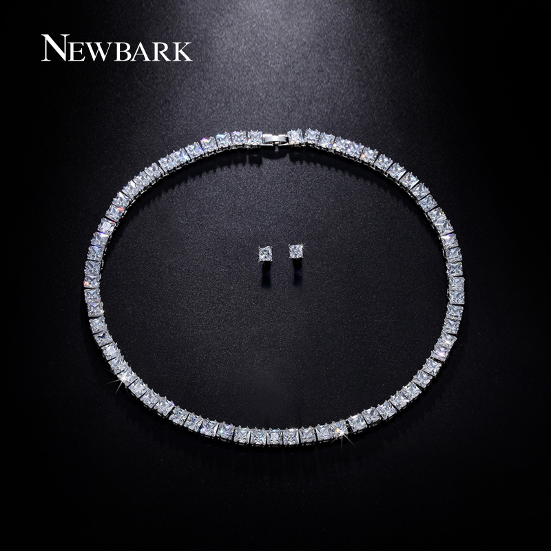 font b NEWBARK b font Wedding Jewelry Set White Gold Plated Square CZ Including 1