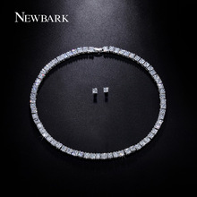 NEWBARK Silver Color Square Crystal Zirconia Stud Earrings Necklace Set for Women Fashion Necklaces Jewelry Accessories