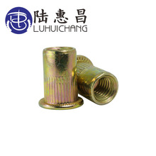 LUHUICHANG M3 M4 M5 M6 M8 M10 Zinc Plated Carbon Steel Knurled Nuts Rivnut Flat Head Threaded Rivet Insert Nutsert Cap Rivet Nut