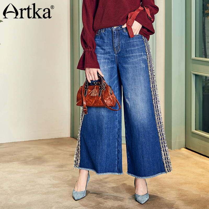 ARTKA 2018 Autumn New Women Vintage Washed Embroidery Patchwork Wide Leg Pants Loose Jeans KN11589Q