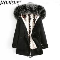 AYUNSUE Natural Mink Fur Coat 2020 Winter Thick Warm Casual Jacket Men Real Raccoon Fur Collar Hooded Parka Plus Size 4XL ZL371