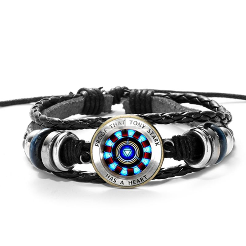 Hot Marvel Avengers Leather Bracelet Action Figure Toys Iron Man Action Tony Stark Arc Reactor Printed Glass Gem Bracelet Gifts