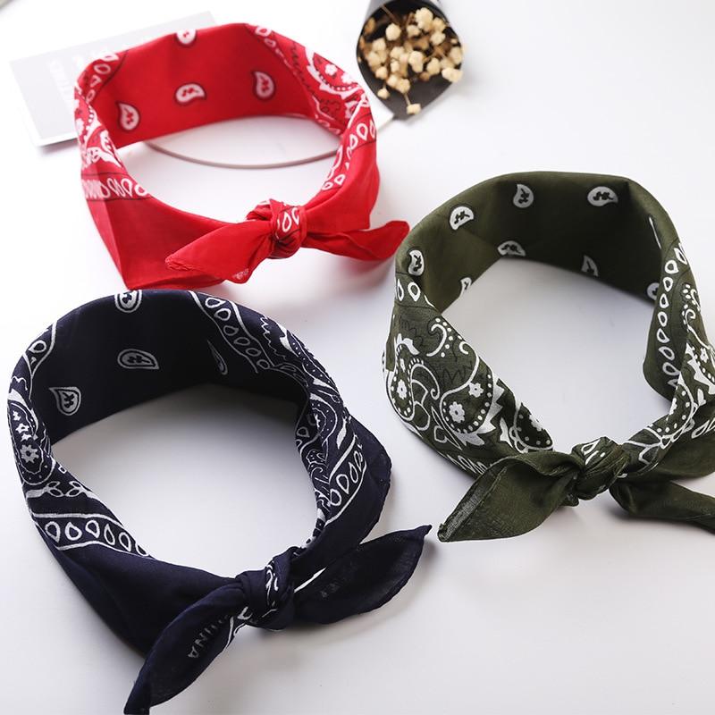 Neck Scarf Handkerchief Headwear Wraps Bandana Scarves-Print Square Black Fashion Unisex