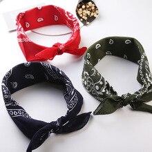 Новое поступление, унисекс, хип-хоп, черная бандана, модный головной убор, повязка на голову, шейный шарф, повязки на запястье, квадратные шарфы, платок с принтом