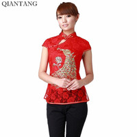 New Arrival Red Female Shirt Tops Chinese Classic Style Ladies Summer Lace Blouse Size S M