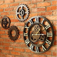 19.6 Inch Roman Numeral Noiseless Gear Wall Clock Vintage Handmade 3D Decorative Gear Wooden Vintage Wall Clock Home Decoration