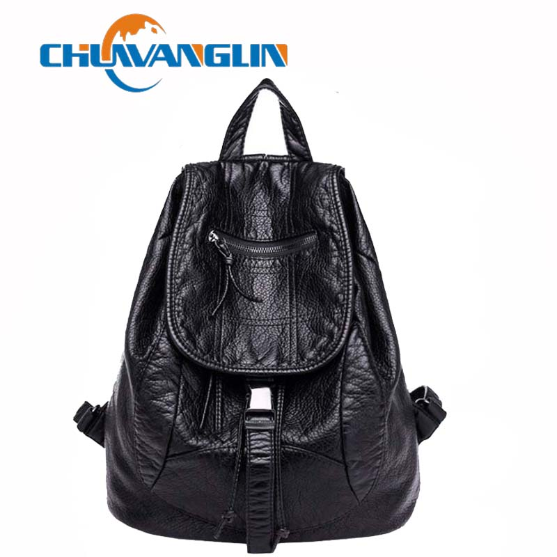 Chuwanglin Washed leather backpack women fashion Simple travel bags casual school bag mochila feminina waterproof bags A6890 fashion women leather backpack rucksack travel school bag shoulder bags satchel girls mochila feminina school bags for teenagers