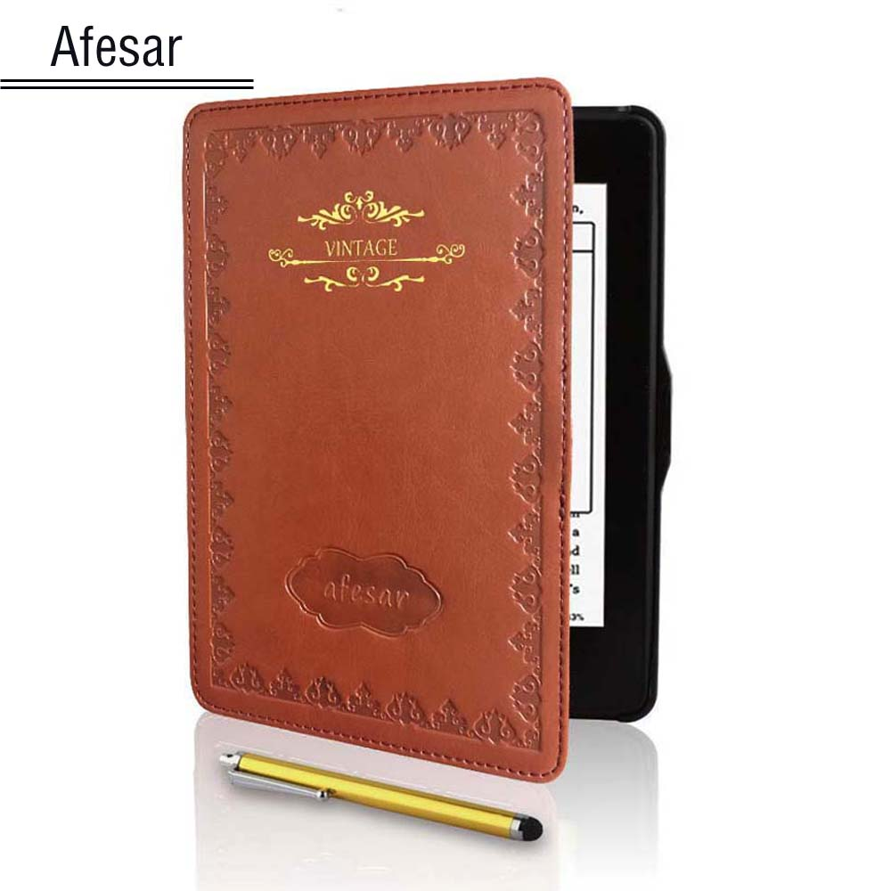 Vintage Leather smart book cover for Kindle Paperwhite 1 2 3 ( 2016 2015 2013) Flip Case with Stylus Magnet closured&Auto Sleep