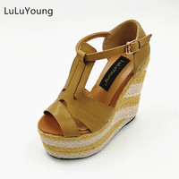 Women Wedges 13 5cm High Heels Sandals Straw Heel Shoes Casual Platform Shoes Open Toe Sy