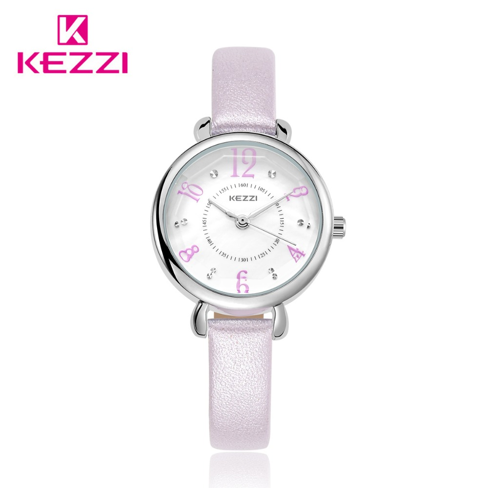 Kezzi Women Leather Strap Watch Casual Quartz Watches Fine Rinestone Watches For Ladies Waterproof Quartz Clock