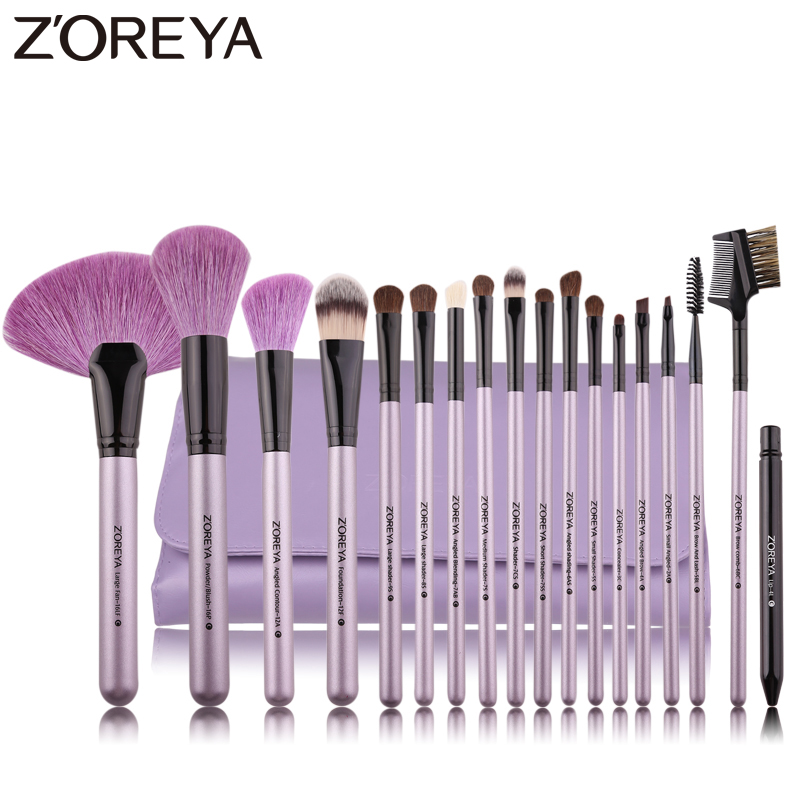 ZOREYA Brand 18Pcs Natural Makeup Brush för att göra upp mjuka borstar Pulver Foundation Fan Cosmetic Borstar Set Eye Lip Makeup Tool