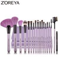 Zoreya ブランド 18 ブラシ構成するためのソフト毛パウダーファンデーションファン化粧ブラシセットアイリップメイクツール