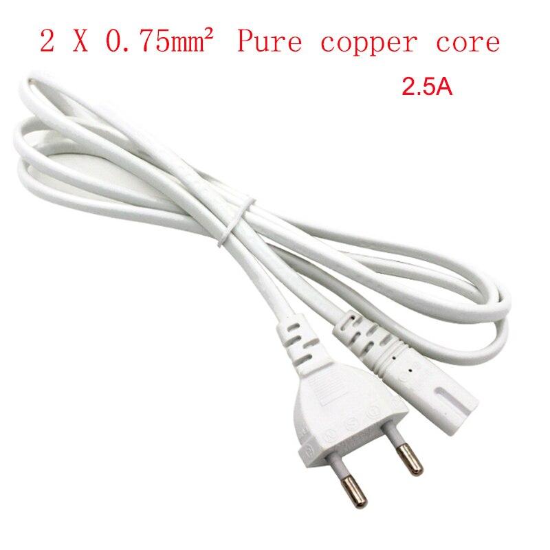 1,5 м 2X 0,75 мм2 Чистый медный сердечник C7 в ЕС Европейский 2-контактный разъем AC кабель питания свинцовый шнур Поддержка высокого тока 2.5A