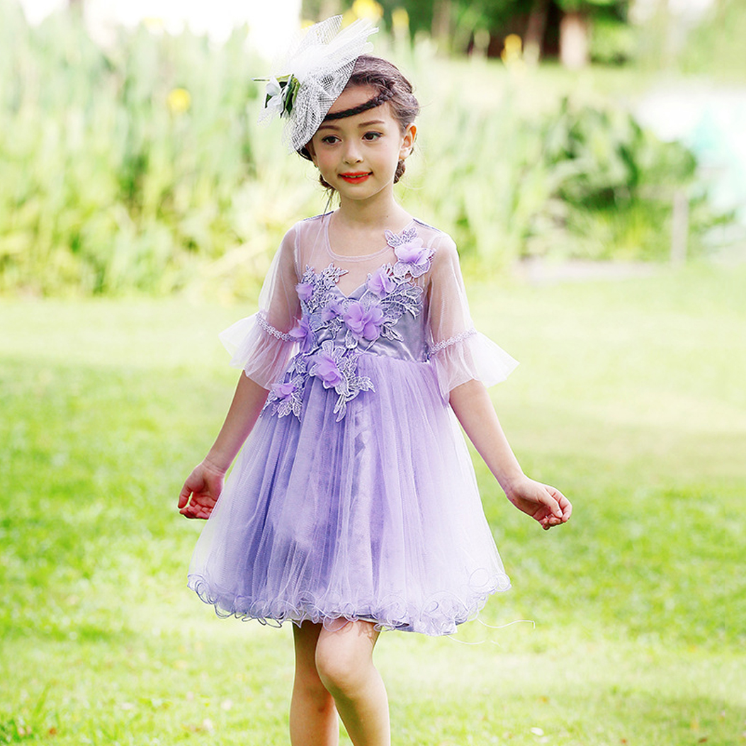 Kids Flower Dress for Wedding Baby Girl Dress Tutu Birthday Party Dresses Childrens Fancy Costume Princess Ball Gown Purple 2017 mint high low flower girl dress for wedding with long train crystals ball gown kids 1st birthday party outfits baby dresses