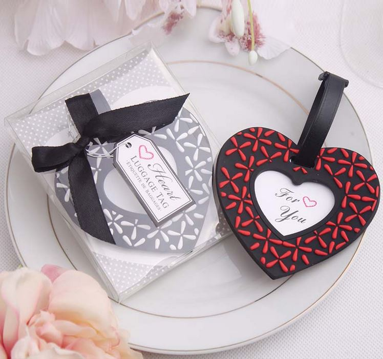 Rubber heart shaped luggage tag in gift box wedding giveaway gifts, bridal shower party gift souvenirs for guest 50pcs/lot