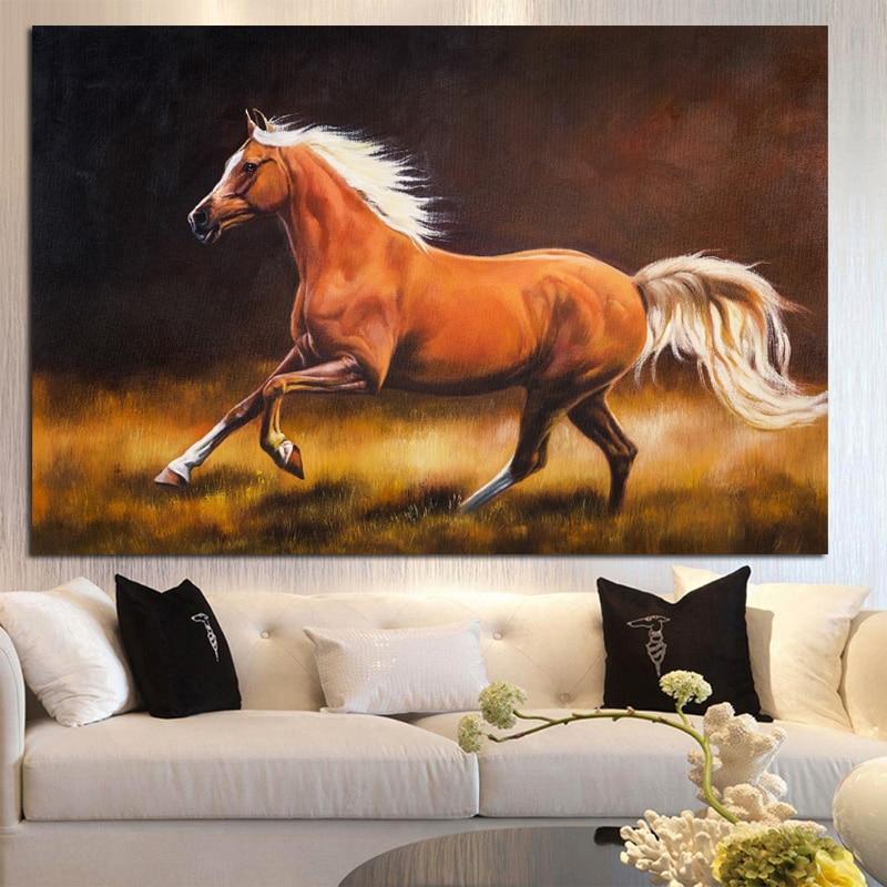Расписанную абстрактный конь Бег Животные живопись маслом на холсте ручной работы Европейский современный настенный изображение для Деко