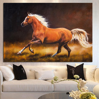 Handpainted Abstract Horse Running Animals Oil Painting On Canvas Handmade European Modern Wall Picture for Living Room Decor