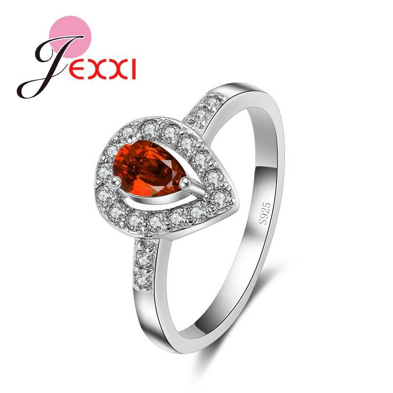New Arrivals   Wedding Rings For Women Heart Shape Red CZ Crystal 925 Sterling Silver Engagment Finger Ring For Femme