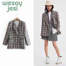 Women Blazer Pockets Jackets Female 2019 new Retro Suits Coat plaid Vintage  Loose Streetwear