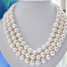 SU298 new Style Hot sale***100% Natural 9-10MM WHITE FRESHWATER Cultured PEARL NECKLACE 50