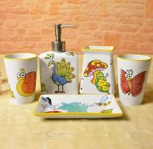 5pcs sets Cartoon animal Toilet ceramic bathroom accessary set1 Liquid bottle + 2 cups +1 Toothbrush holder + 1 Soap dispenser